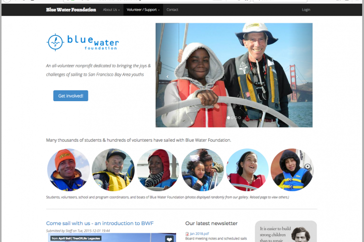 The Blue Water Foundation website